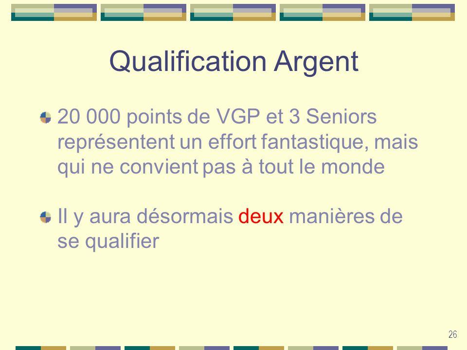 26 Qualification Argent 20 000 points de VGP et 3 Seniors représentent un effort fantastique, mais qui ne convient pas à tout le monde Il y aura désor