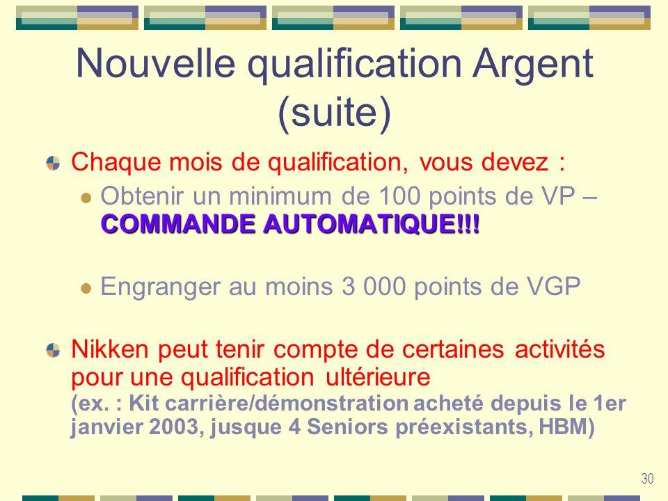 30 Nouvelle qualification Argent (suite) Chaque mois de qualification, vous devez : COMMANDE AUTOMATIQUE!!! Obtenir un minimum de 100 points de VP – C