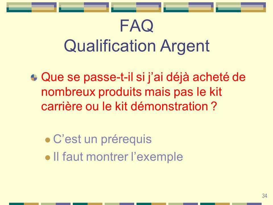 34 FAQ Qualification Argent Que se passe-t-il si jai déjà acheté de nombreux produits mais pas le kit carrière ou le kit démonstration ? Cest un prére
