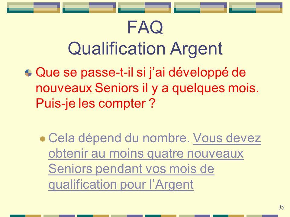 35 FAQ Qualification Argent Que se passe-t-il si jai développé de nouveaux Seniors il y a quelques mois. Puis-je les compter ? Cela dépend du nombre.