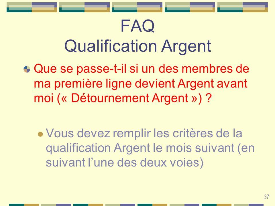 37 FAQ Qualification Argent Que se passe-t-il si un des membres de ma première ligne devient Argent avant moi (« Détournement Argent ») ? Vous devez r
