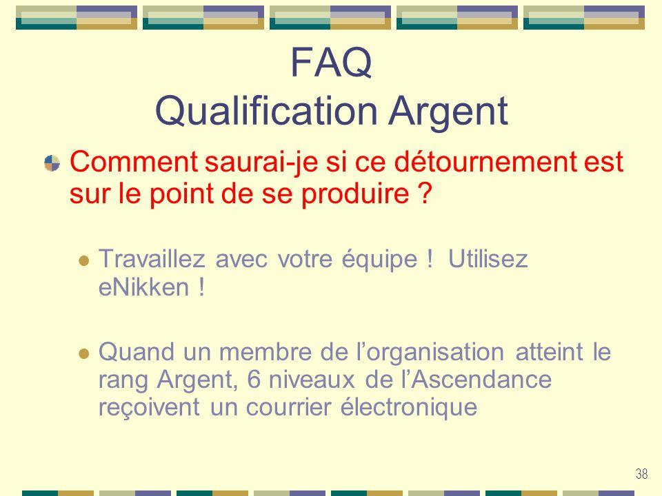 38 FAQ Qualification Argent Comment saurai-je si ce détournement est sur le point de se produire ? Travaillez avec votre équipe ! Utilisez eNikken ! Q