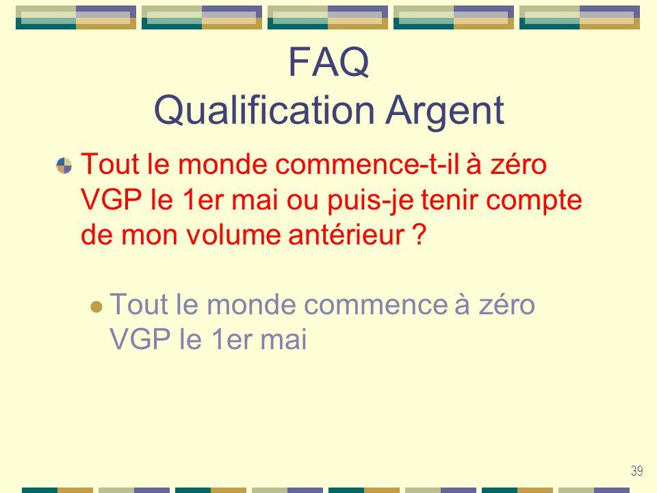 39 FAQ Qualification Argent Tout le monde commence-t-il à zéro VGP le 1er mai ou puis-je tenir compte de mon volume antérieur ? Tout le monde commence