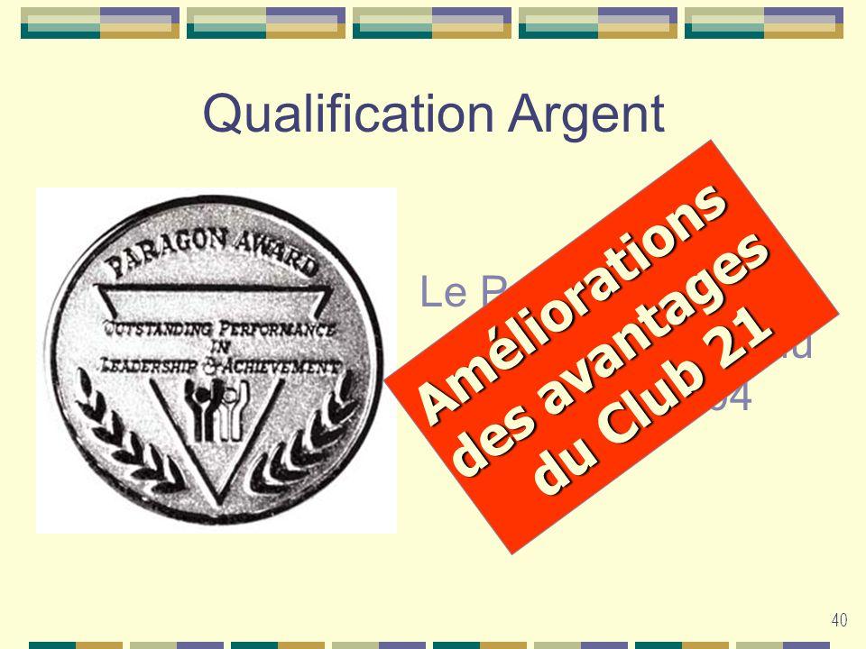 40 Qualification Argent Le Paragon cessera dexister à partir du 30 avril 2004 Améliorations des avantages du Club 21