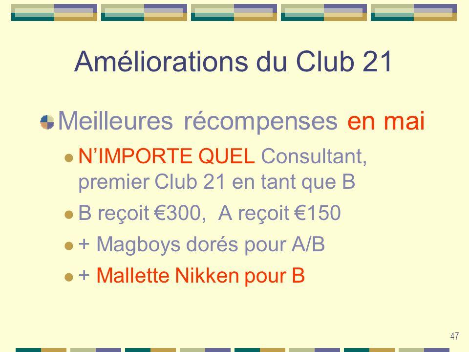 47 Améliorations du Club 21 Meilleures récompenses en mai NIMPORTE QUEL Consultant, premier Club 21 en tant que B B reçoit 300, A reçoit 150 + Magboys