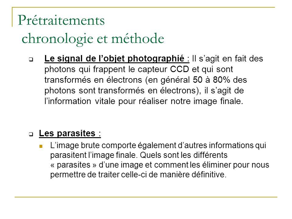 Prétraitements chronologie et méthode Le signal de lobjet photographié : Il sagit en fait des photons qui frappent le capteur CCD et qui sont transfor