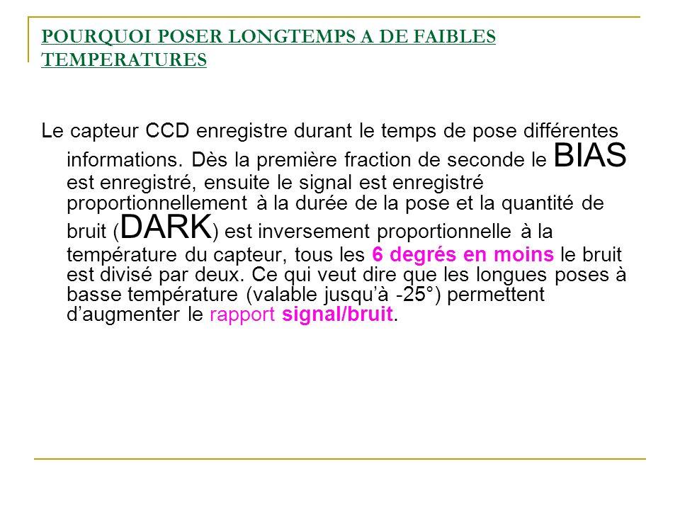 POURQUOI POSER LONGTEMPS A DE FAIBLES TEMPERATURES Le capteur CCD enregistre durant le temps de pose différentes informations. Dès la première fractio