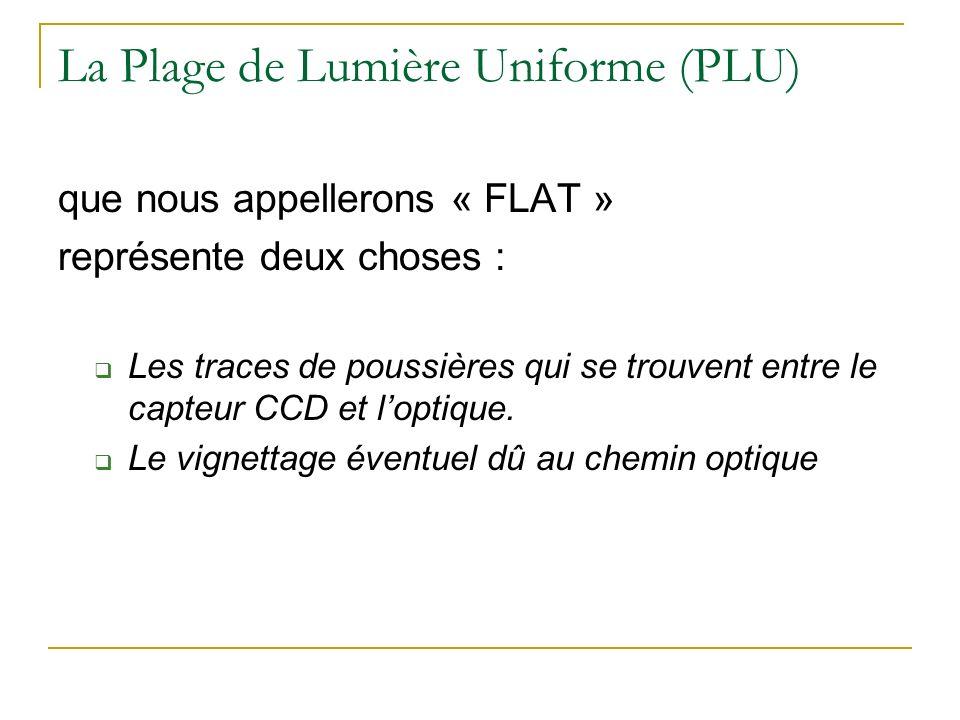 La Plage de Lumière Uniforme (PLU) que nous appellerons « FLAT » représente deux choses : Les traces de poussières qui se trouvent entre le capteur CC