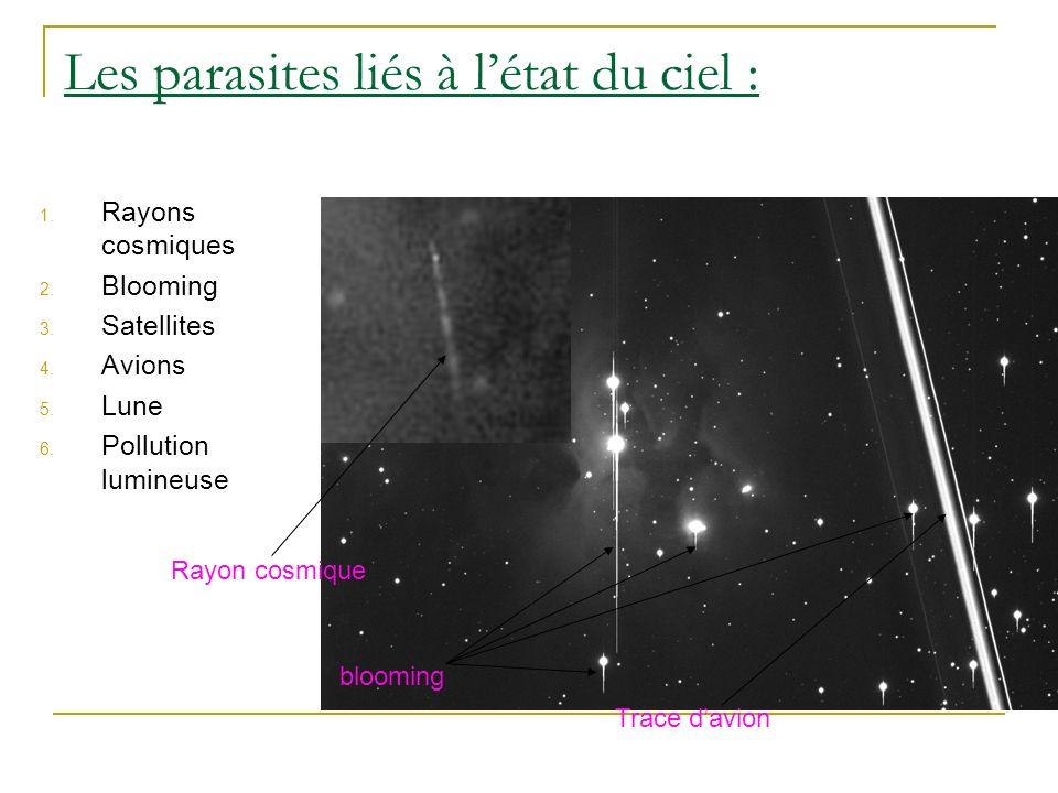 Les parasites liés à létat du ciel : blooming Trace davion Rayon cosmique 1. Rayons cosmiques 2. Blooming 3. Satellites 4. Avions 5. Lune 6. Pollution