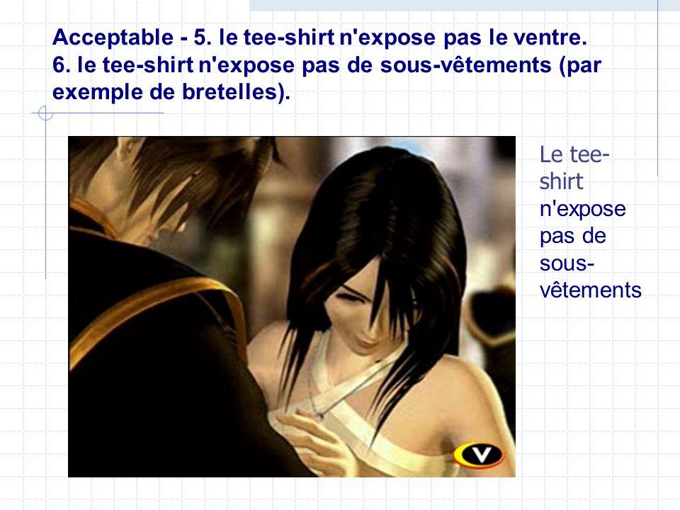 Acceptable - 5. le tee-shirt n'expose pas le ventre. 6. le tee-shirt n'expose pas de sous-vêtements (par exemple de bretelles). Le tee- shirt n'expose