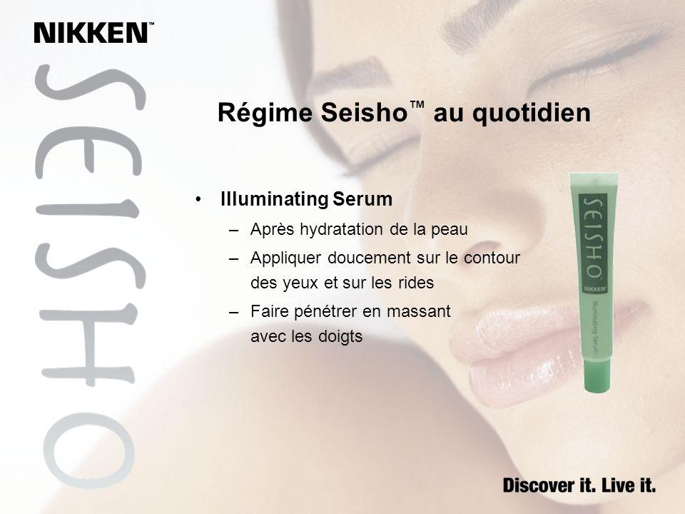 Régime Seisho au quotidien Illuminating Serum –Après hydratation de la peau –Appliquer doucement sur le contour des yeux et sur les rides –Faire pénét