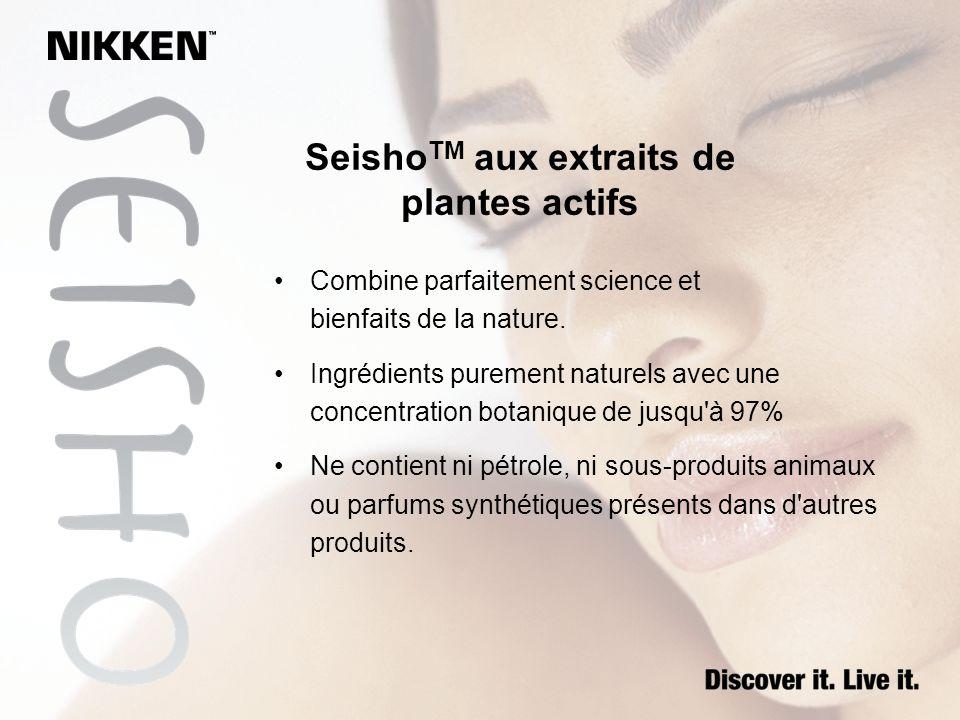 Seisho TM aux extraits de plantes actifs Combine parfaitement science et bienfaits de la nature. Ingrédients purement naturels avec une concentration