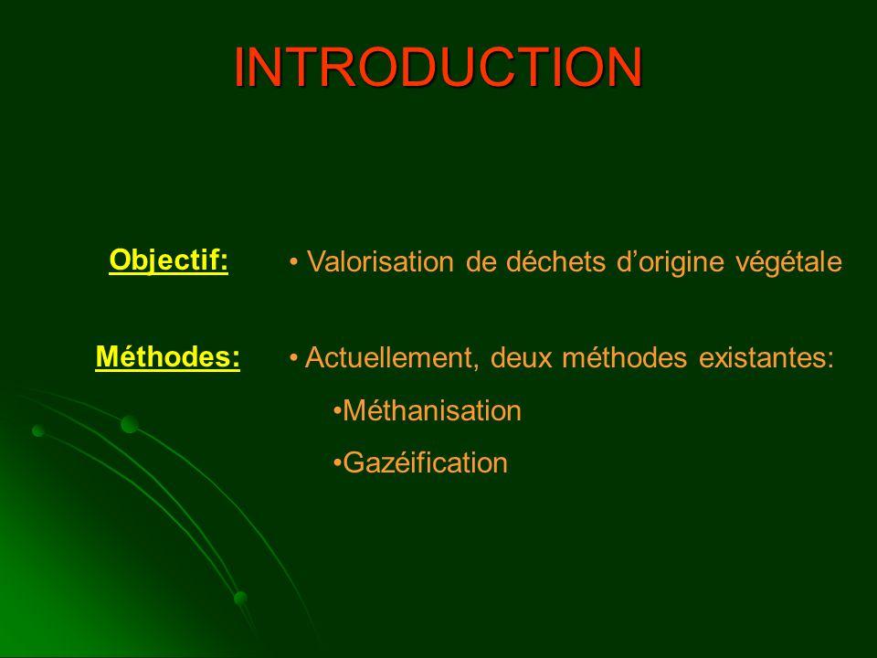 Objectif: Valorisation de déchets dorigine végétale Méthodes: Actuellement, deux méthodes existantes: Méthanisation Gazéification INTRODUCTION