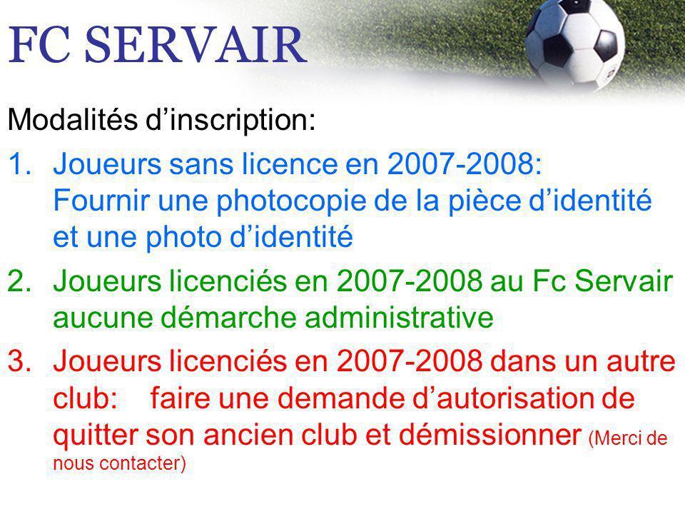Modalités dinscription: 1.Joueurs sans licence en 2007-2008: Fournir une photocopie de la pièce didentité et une photo didentité 2.Joueurs licenciés e