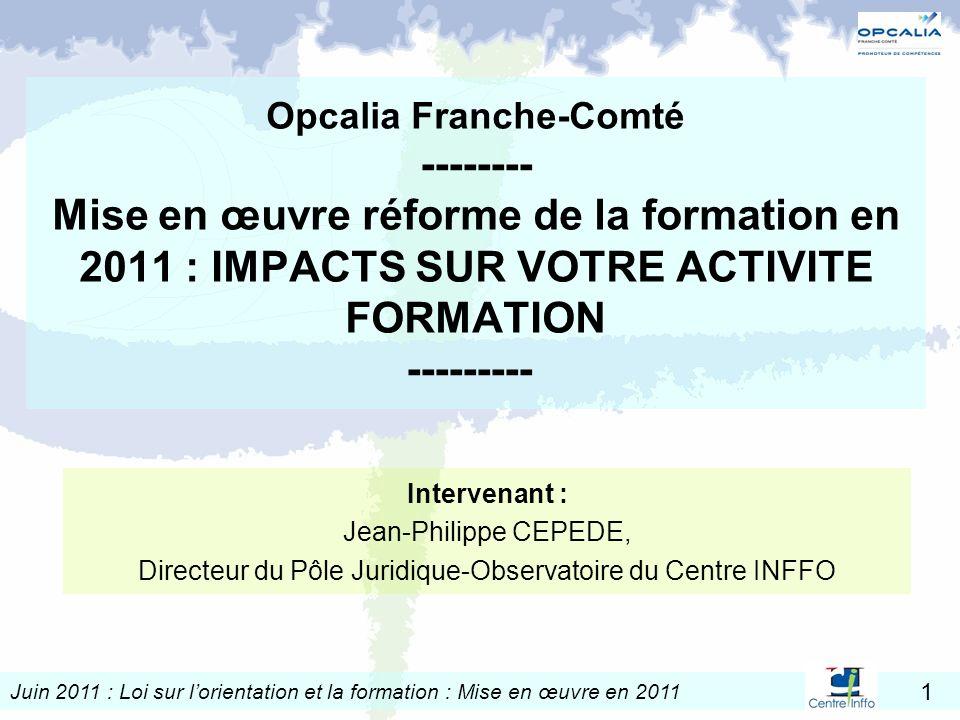 Juin 2011 : Loi sur lorientation et la formation : Mise en œuvre en 2011 1 Opcalia Franche-Comté -------- Mise en œuvre réforme de la formation en 201