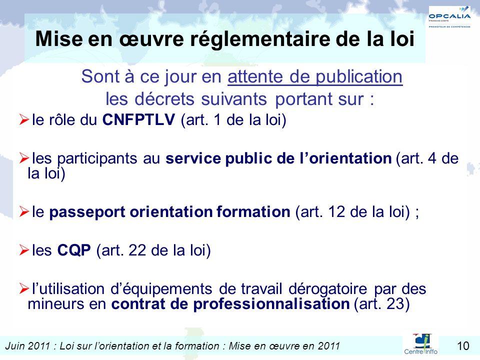 Juin 2011 : Loi sur lorientation et la formation : Mise en œuvre en 2011 10 Mise en œuvre réglementaire de la loi Sont à ce jour en attente de publica