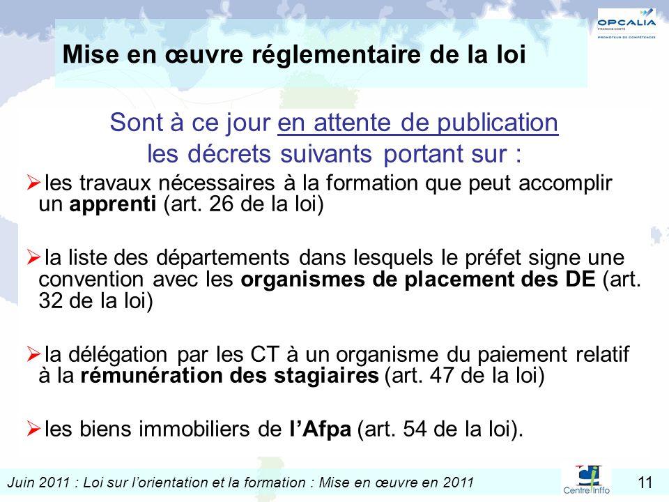 Juin 2011 : Loi sur lorientation et la formation : Mise en œuvre en 2011 11 Mise en œuvre réglementaire de la loi Sont à ce jour en attente de publica