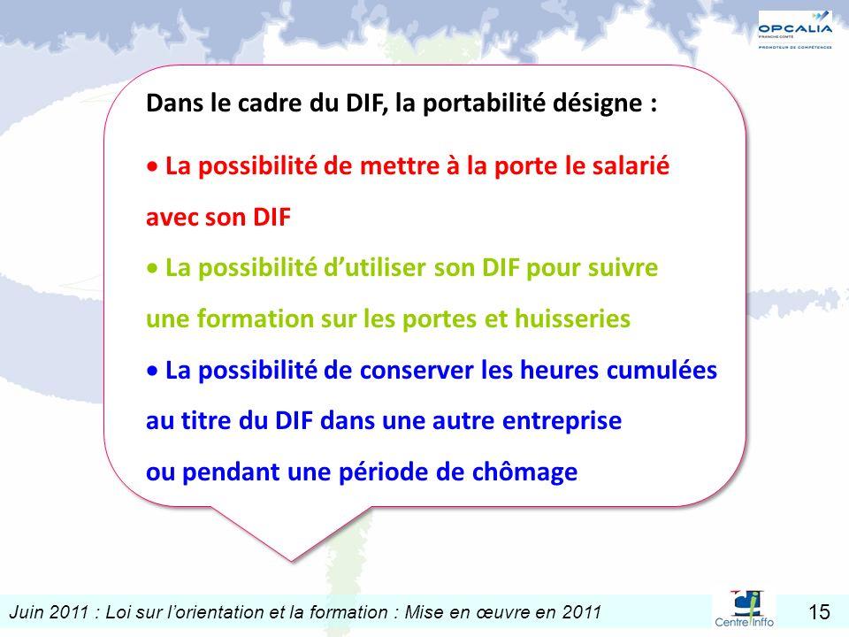 Juin 2011 : Loi sur lorientation et la formation : Mise en œuvre en 2011 15 Dans le cadre du DIF, la portabilité désigne : La possibilité de mettre à