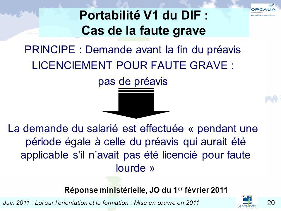 Juin 2011 : Loi sur lorientation et la formation : Mise en œuvre en 2011 20 Portabilité V1 du DIF : Cas de la faute grave PRINCIPE : Demande avant la