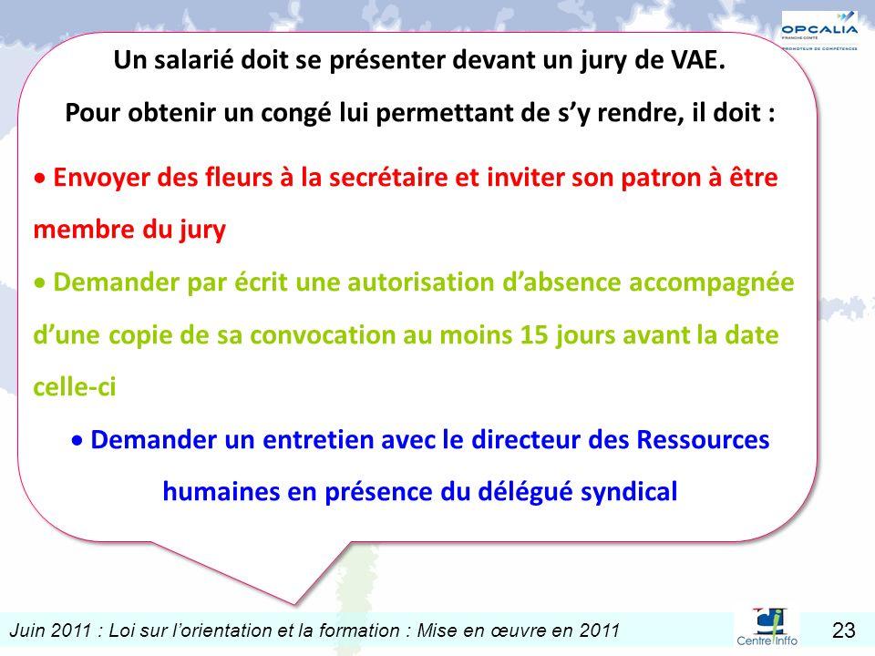 Juin 2011 : Loi sur lorientation et la formation : Mise en œuvre en 2011 23 Un salarié doit se présenter devant un jury de VAE. Pour obtenir un congé