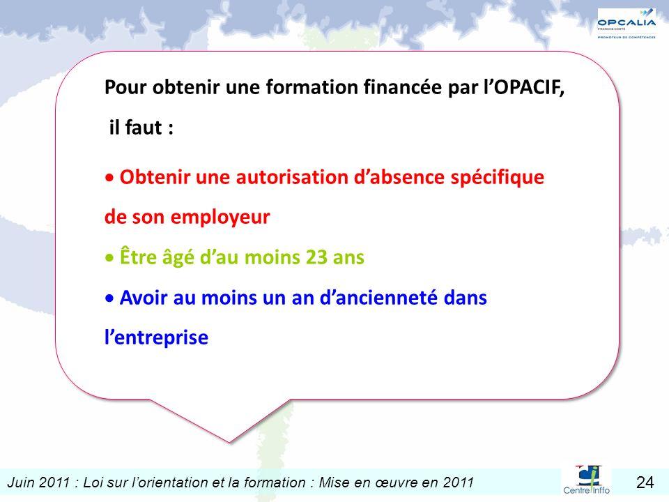 Juin 2011 : Loi sur lorientation et la formation : Mise en œuvre en 2011 24 Pour obtenir une formation financée par lOPACIF, il faut : Obtenir une aut