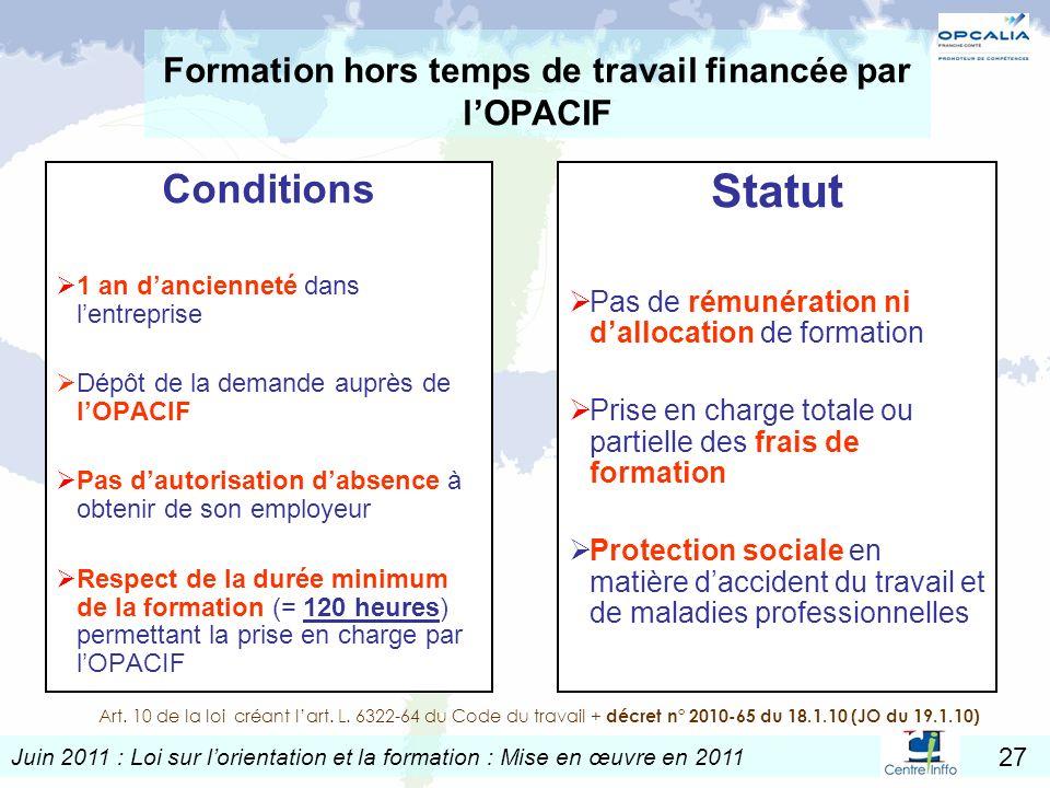 Juin 2011 : Loi sur lorientation et la formation : Mise en œuvre en 2011 27 Formation hors temps de travail financée par lOPACIF Conditions 1 an danci