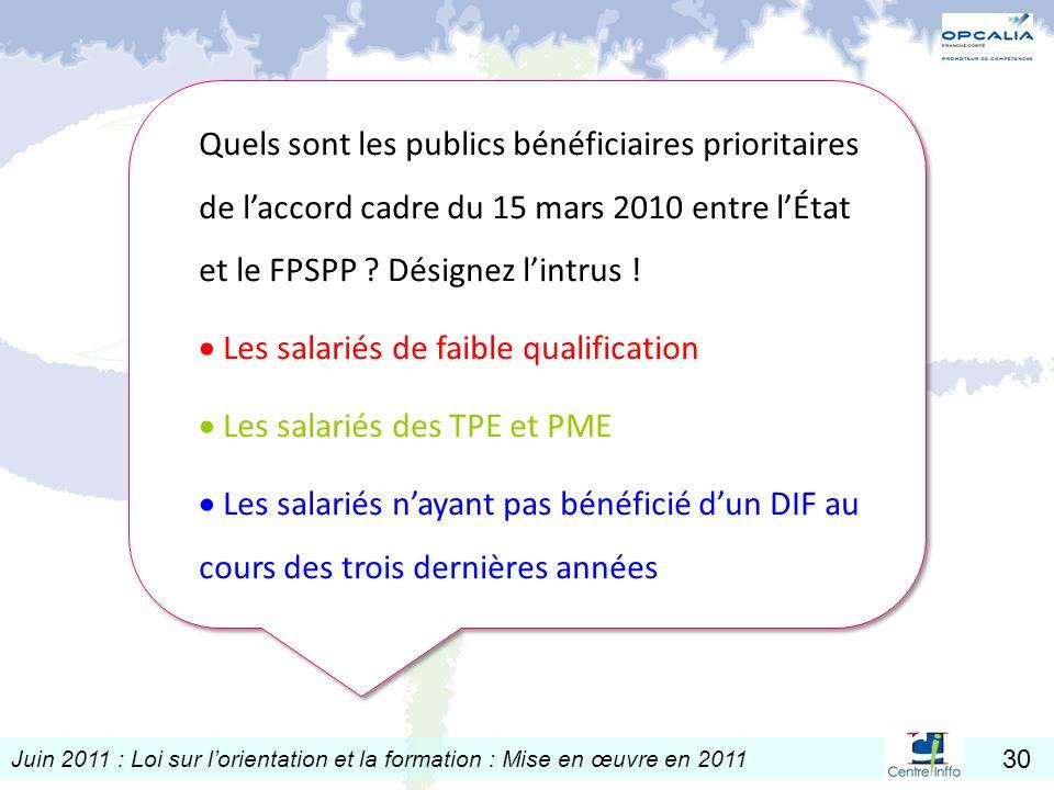 Juin 2011 : Loi sur lorientation et la formation : Mise en œuvre en 2011 30 Quels sont les publics bénéficiaires prioritaires de laccord cadre du 15 m