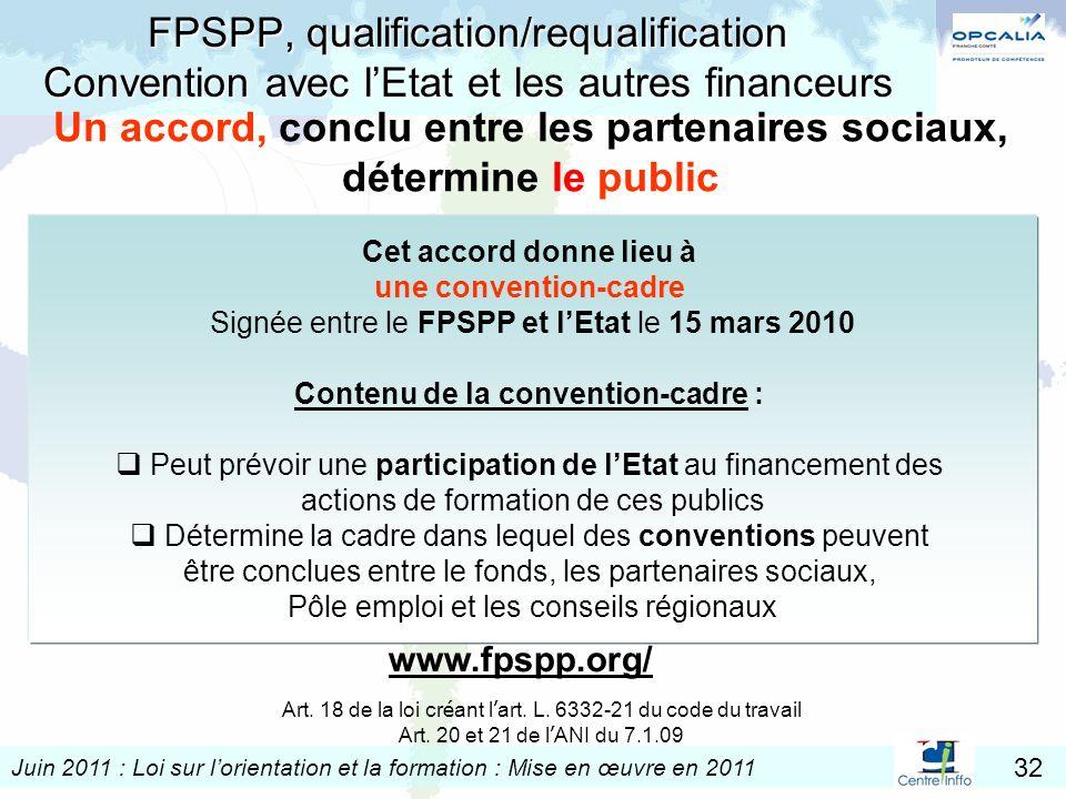 Juin 2011 : Loi sur lorientation et la formation : Mise en œuvre en 2011 32 FPSPP, qualification/requalification Convention avec lEtat et les autres f