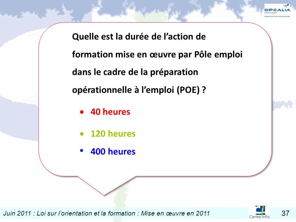 Juin 2011 : Loi sur lorientation et la formation : Mise en œuvre en 2011 37 Quelle est la durée de laction de formation mise en œuvre par Pôle emploi