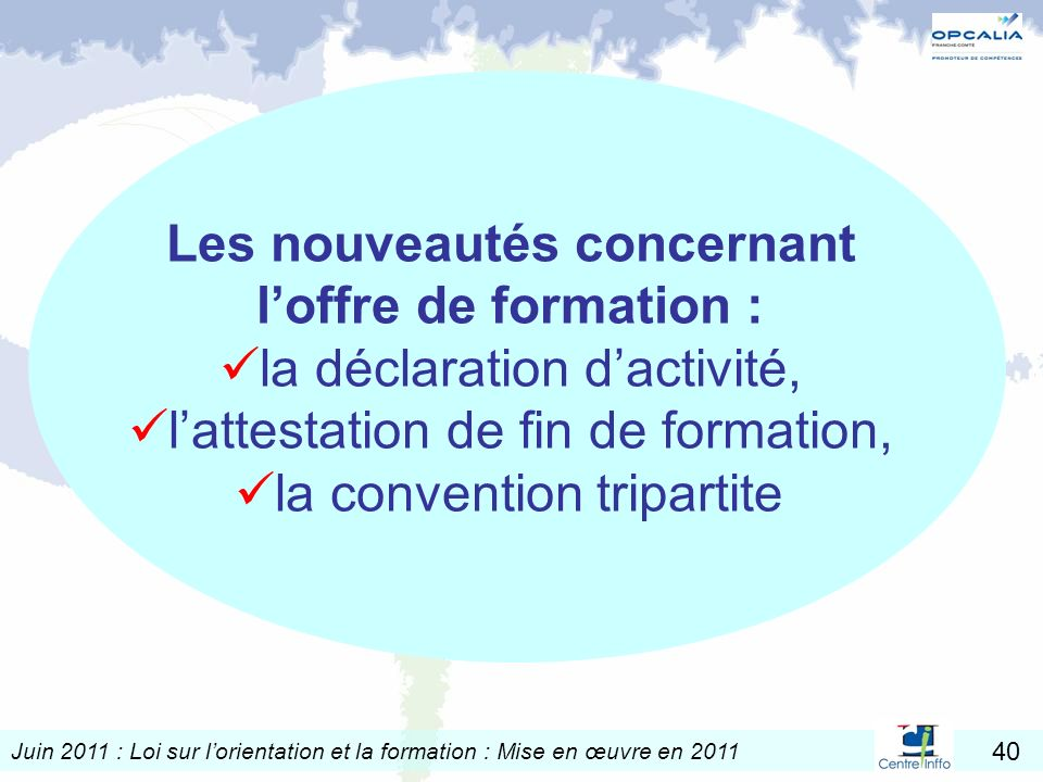 Juin 2011 : Loi sur lorientation et la formation : Mise en œuvre en 2011 40 Les nouveautés concernant loffre de formation : la déclaration dactivité,