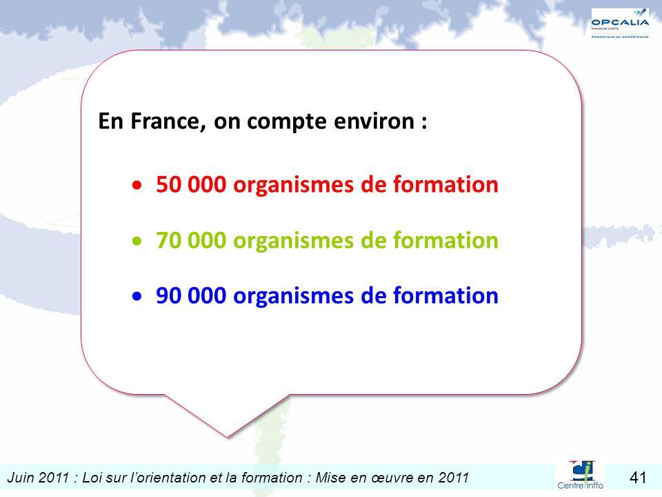Juin 2011 : Loi sur lorientation et la formation : Mise en œuvre en 2011 41 En France, on compte environ : 50 000 organismes de formation 70 000 organ
