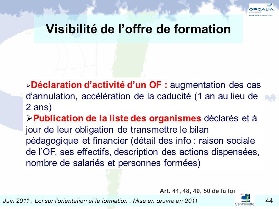 Juin 2011 : Loi sur lorientation et la formation : Mise en œuvre en 2011 44 Visibilité de loffre de formation Déclaration dactivité dun OF : augmentat