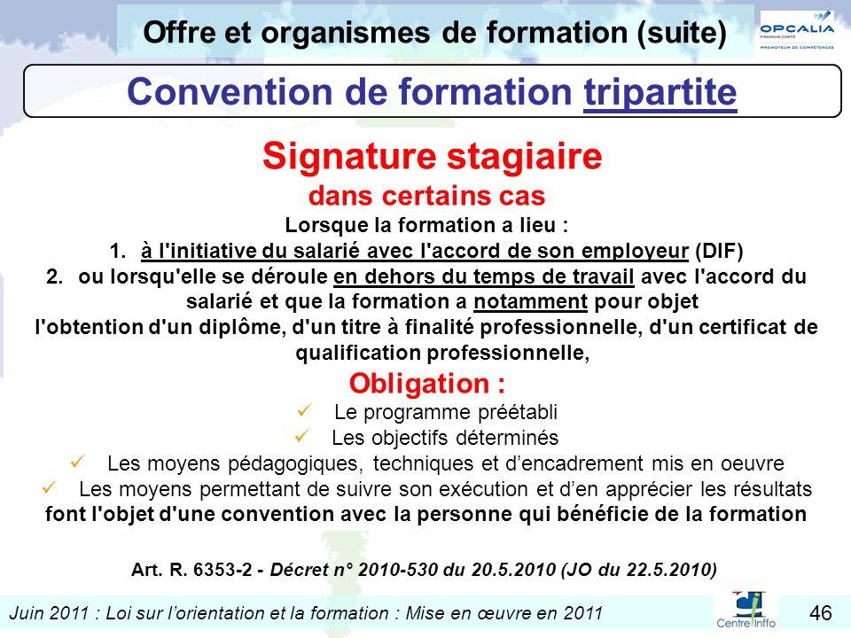 Juin 2011 : Loi sur lorientation et la formation : Mise en œuvre en 2011 46 Art. R. 6353-2 - Décret n° 2010-530 du 20.5.2010 (JO du 22.5.2010) Convent