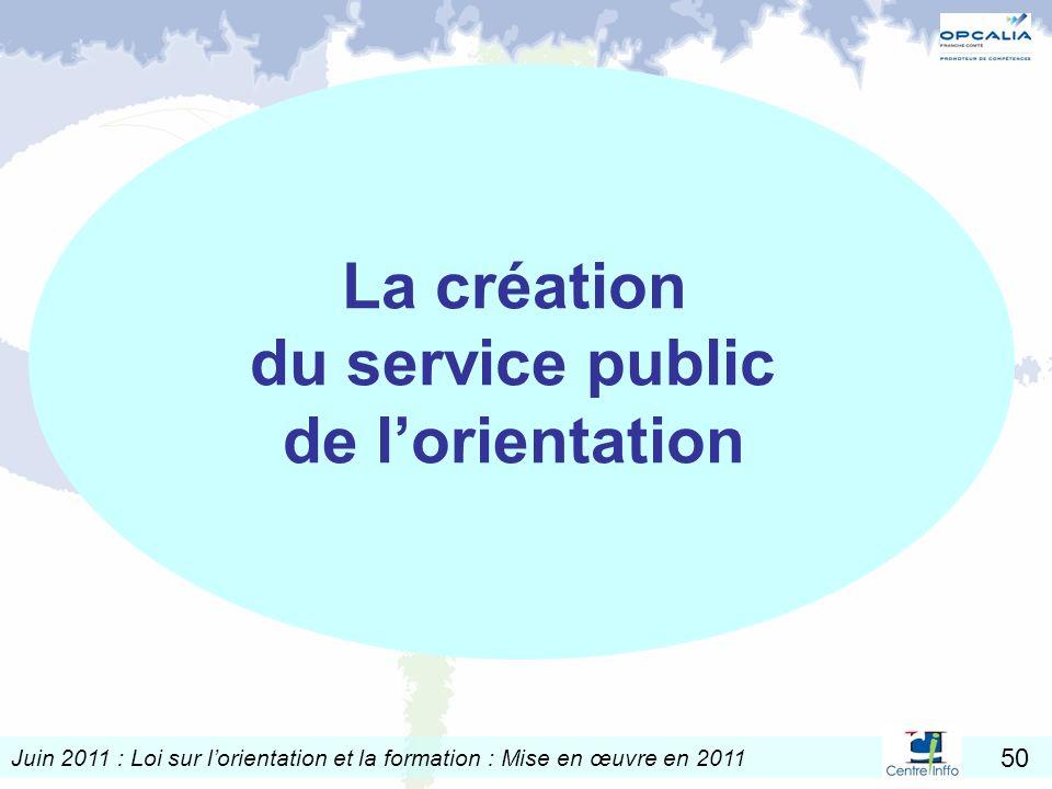 Juin 2011 : Loi sur lorientation et la formation : Mise en œuvre en 2011 50 La création du service public de lorientation