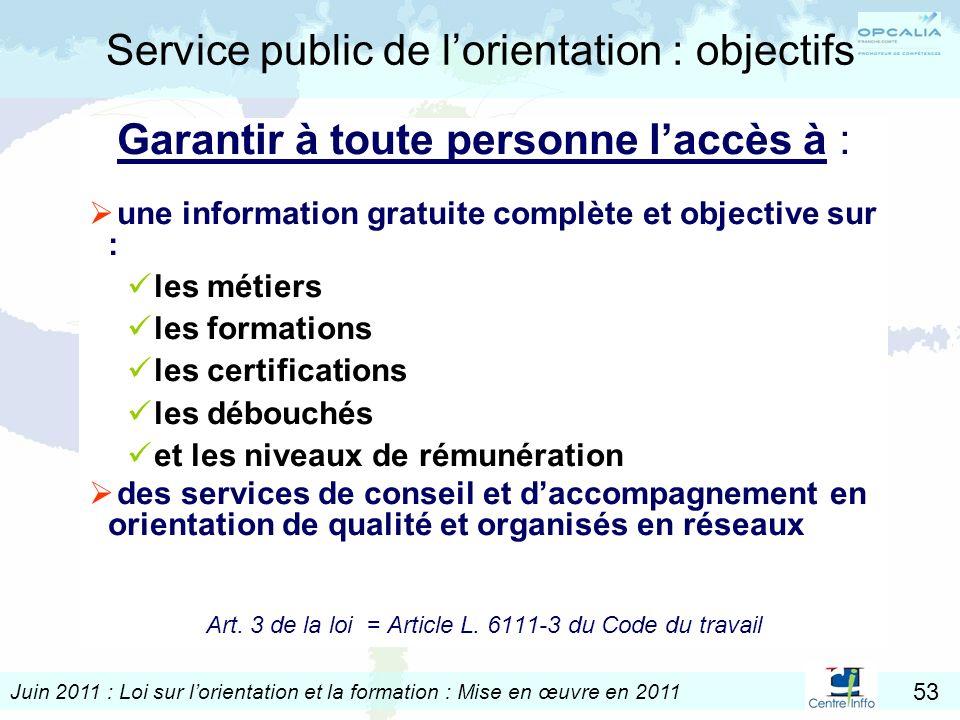 Juin 2011 : Loi sur lorientation et la formation : Mise en œuvre en 2011 53 Service public de lorientation : objectifs Garantir à toute personne laccè