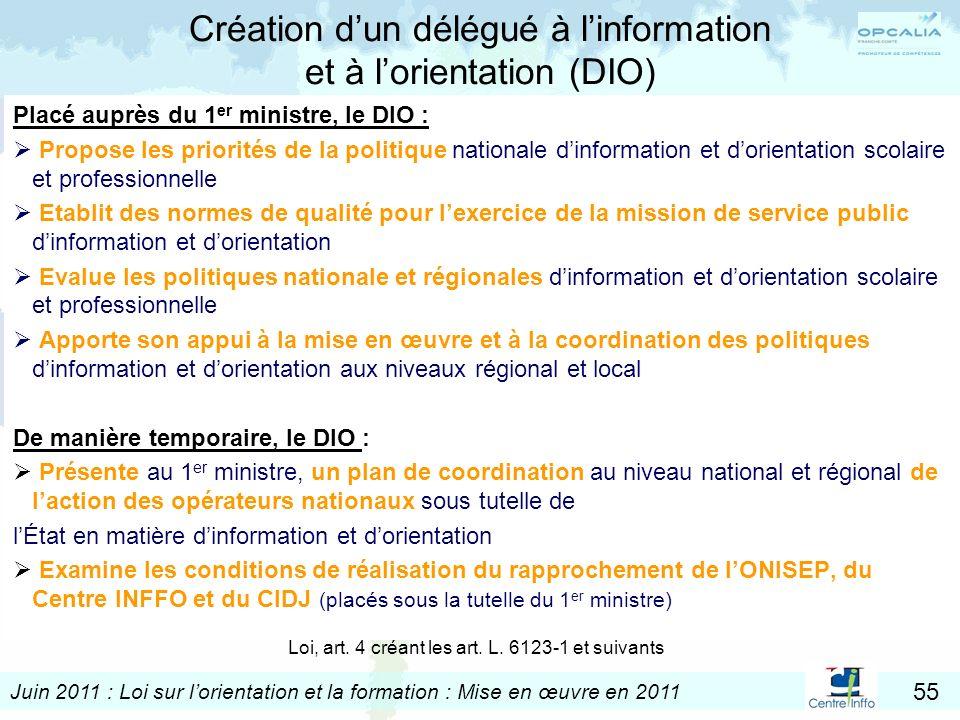 Juin 2011 : Loi sur lorientation et la formation : Mise en œuvre en 2011 55 Création dun délégué à linformation et à lorientation (DIO) Placé auprès d