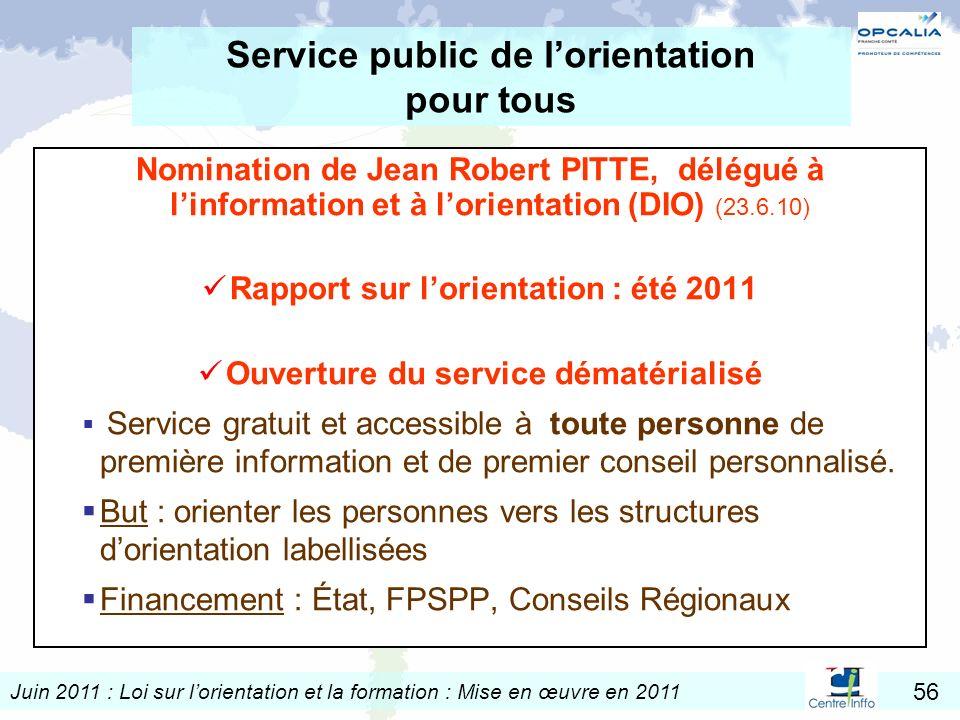 Juin 2011 : Loi sur lorientation et la formation : Mise en œuvre en 2011 56 Service public de lorientation pour tous Nomination de Jean Robert PITTE,