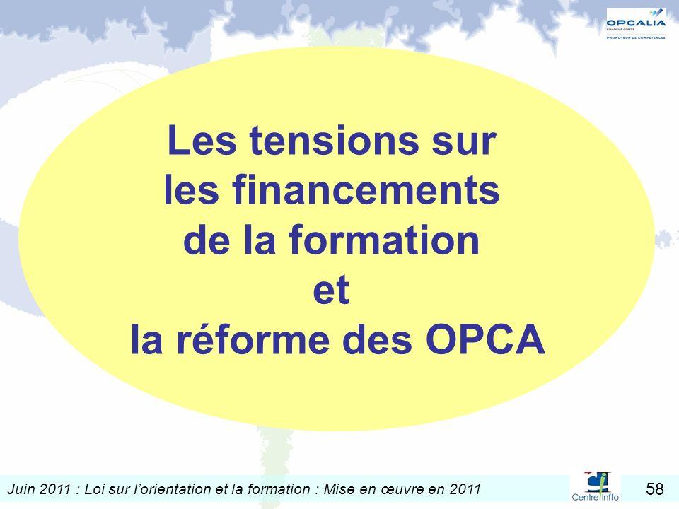 Juin 2011 : Loi sur lorientation et la formation : Mise en œuvre en 2011 58 Les tensions sur les financements de la formation et la réforme des OPCA