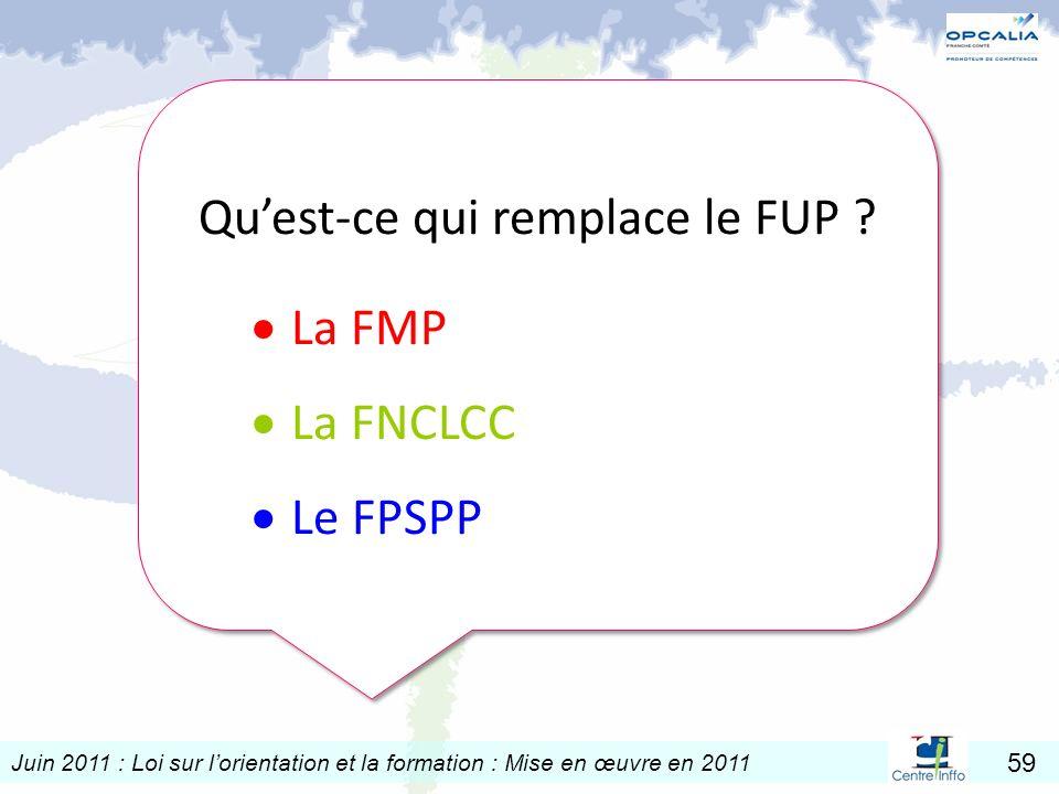 Juin 2011 : Loi sur lorientation et la formation : Mise en œuvre en 2011 59 Quest-ce qui remplace le FUP ? La FMP La FNCLCC Le FPSPP