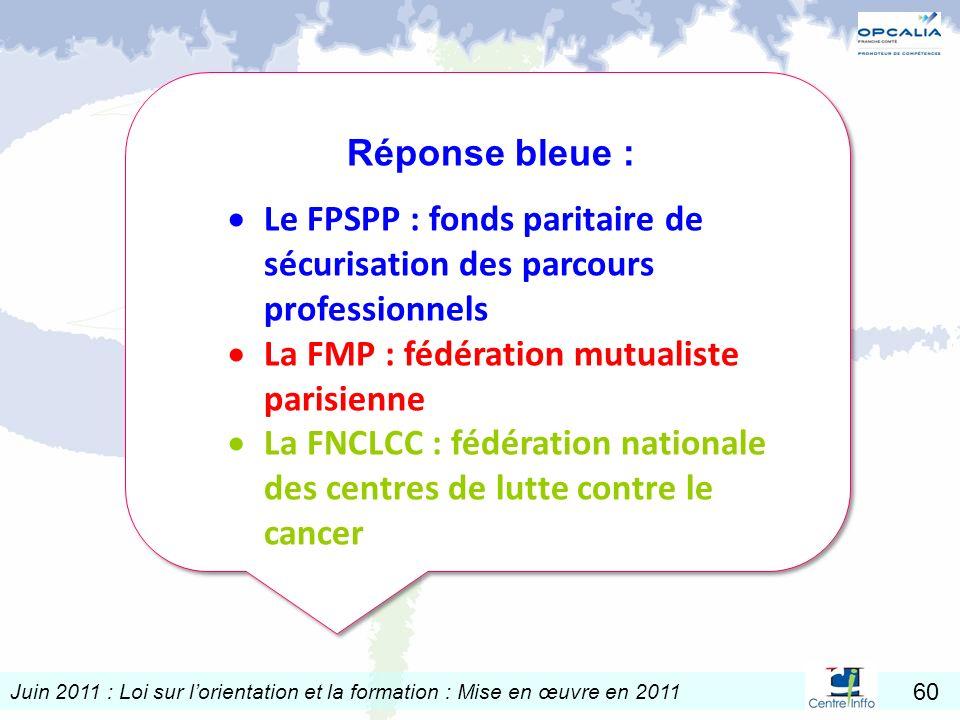 Juin 2011 : Loi sur lorientation et la formation : Mise en œuvre en 2011 60 Réponse bleue : Le FPSPP : fonds paritaire de sécurisation des parcours pr