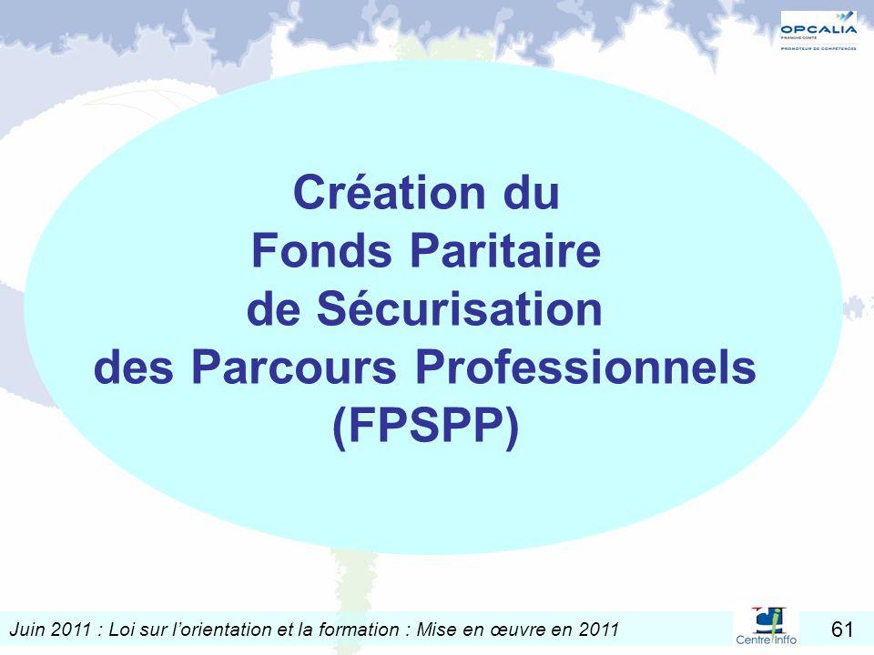 Juin 2011 : Loi sur lorientation et la formation : Mise en œuvre en 2011 61 Création du Fonds Paritaire de Sécurisation des Parcours Professionnels (F