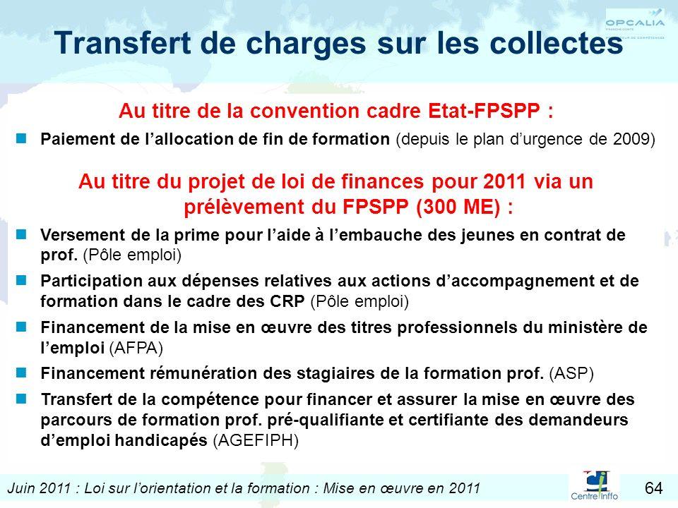 Juin 2011 : Loi sur lorientation et la formation : Mise en œuvre en 2011 64 Transfert de charges sur les collectes Au titre de la convention cadre Eta