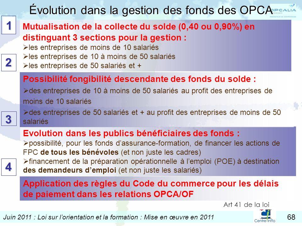 Juin 2011 : Loi sur lorientation et la formation : Mise en œuvre en 2011 68 Evolution dans les publics bénéficiaires des fonds : possibilité, pour les