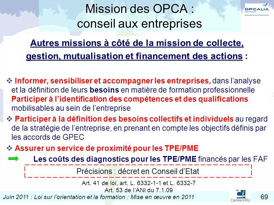 Juin 2011 : Loi sur lorientation et la formation : Mise en œuvre en 2011 69 Mission des OPCA : conseil aux entreprises Autres missions à côté de la mi