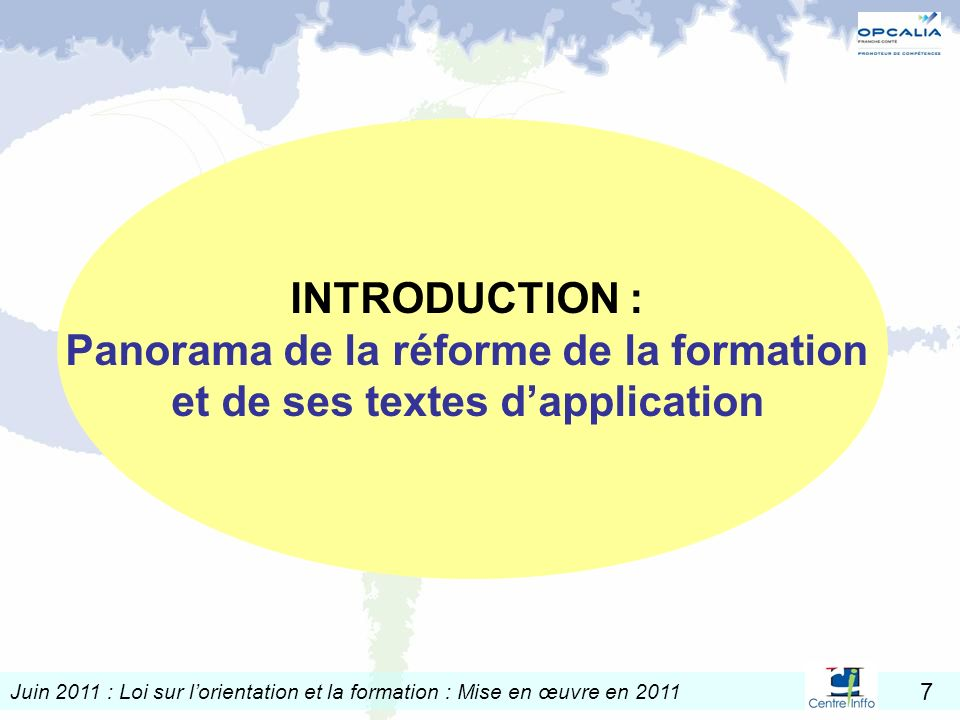 Juin 2011 : Loi sur lorientation et la formation : Mise en œuvre en 2011 7 INTRODUCTION : Panorama de la réforme de la formation et de ses textes dapp
