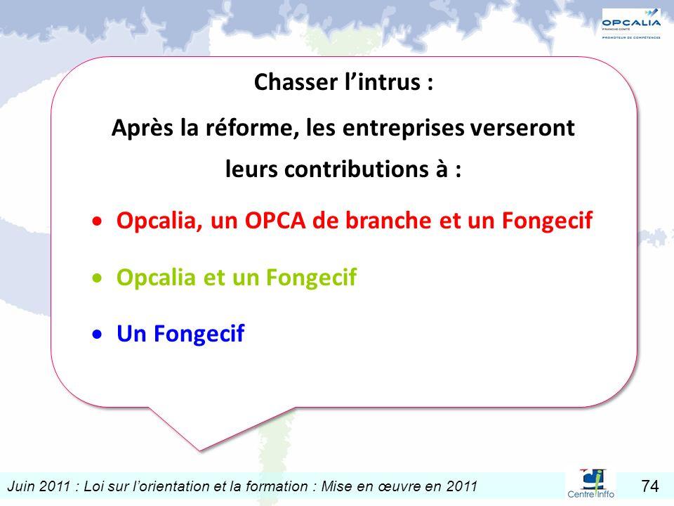 Juin 2011 : Loi sur lorientation et la formation : Mise en œuvre en 2011 74 Chasser lintrus : Après la réforme, les entreprises verseront leurs contri