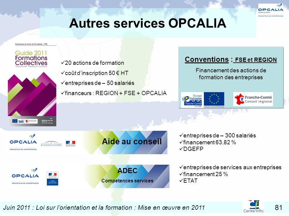 Juin 2011 : Loi sur lorientation et la formation : Mise en œuvre en 2011 81 Autres services OPCALIA 20 actions de formation coût dinscription 50 HT en