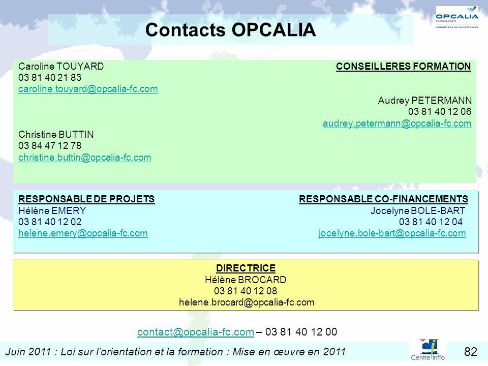Juin 2011 : Loi sur lorientation et la formation : Mise en œuvre en 2011 82 Contacts OPCALIA Caroline TOUYARD CONSEILLERES FORMATION 03 81 40 21 83 ca
