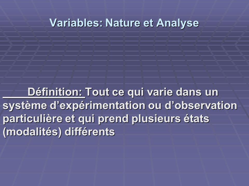 Variables: Nature et Analyse Définition: Tout ce qui varie dans un système dexpérimentation ou dobservation particulière et qui prend plusieurs états