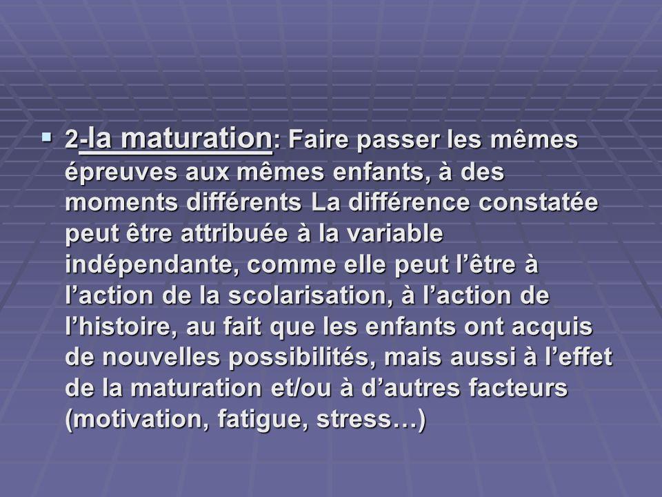 2- la maturation : Faire passer les mêmes épreuves aux mêmes enfants, à des moments différents La différence constatée peut être attribuée à la variab